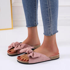 Women's Cloth Flat Heel Peep Toe With Bowknot shoes