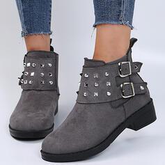 Mulheres Camurça Salto robusto Botas Bota no tornozelo Low Top Toe rodada com Rivet Fivela Cor sólida sapatos