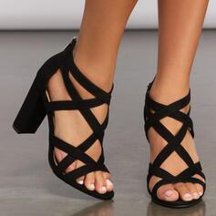 Mulheres Couro Salto robusto Sandálias Bombas Peep toe com Zíper Oca-out Cor sólida sapatos