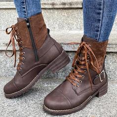 Mulheres PU Salto robusto Martin botas Toe rodada com Fivela Aplicação de renda sapatos