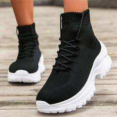 De mujer Tejido volador Tacón ancho Botas al tobillo Encaje Botas de calcetín con Cordones Banda elástica Color sólido zapatos