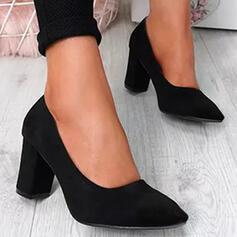 De mujer PU Tacón ancho Salón Dedo del pie puntiagudo con Color sólido zapatos