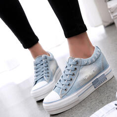 Women's Canvas Flat Heel Flats Low Top Espadrille With Lace-up shoes