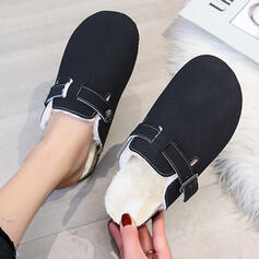 Women's Suede Flat Heel Slippers With Buckle shoes