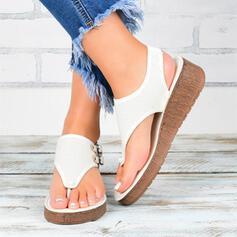 Women's PU Flat Heel Sandals Wedges Peep Toe Flip-Flops Heels shoes
