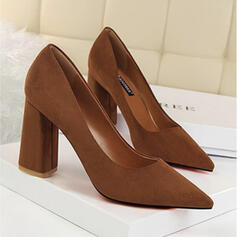 Women's Suede Chunky Heel Pumps With Solid Color shoes