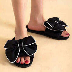 Women's Fabric Flat Heel Sandals Flats Peep Toe Slippers With Bowknot Hollow-out shoes