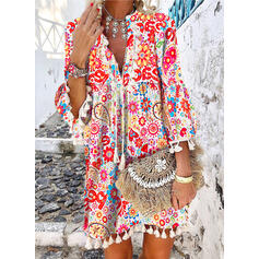 Floral/Animal Print/Tassel/Heart/Letter 3/4 Sleeves/Flare Sleeves Shift Above Knee Casual/Vacation Tunic Dresses