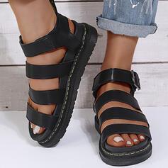 Women's PU Wedge Heel Sandals Flats Platform Peep Toe With Buckle Solid Color shoes