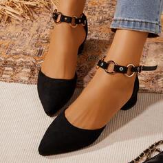 De mujer Cuero Tacón ancho Mary Jane Tacones Dedo del pie puntiagudo con Hebilla zapatos