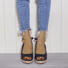 De mujer PU Tipo de tacón Salón Encaje con Bowknot Color sólido zapatos