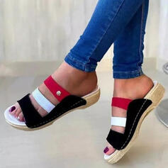 Women's PU Wedge Heel Sandals Peep Toe Slippers With Hollow-out Splice Color shoes