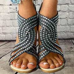 Mulheres PU Salto baixo Sandálias Sem salto Peep toe com Strass Zíper Oca-out sapatos