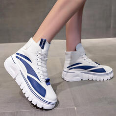 Women's PU Flat Heel Flats Ankle Boots High Top Sneakers With Lace-up Splice Color shoes