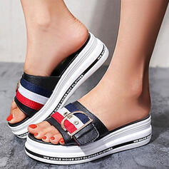 Women's PU Wedge Heel Sandals Platform Wedges Peep Toe Slippers With Buckle Splice Color shoes
