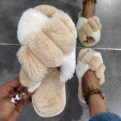 Femmes Faux-Fur Talon plat Chaussures plates À bout ouvert Escarpins Chaussons avec Fourrure Bloc de couleur chaussures