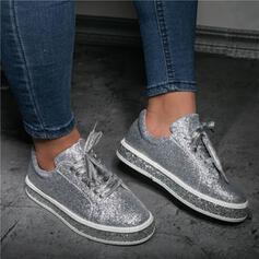 Femmes PU Talon plat Chaussures plates Low Top bout rond avec Pailletes scintillantes Dentelle Couleur unie chaussures