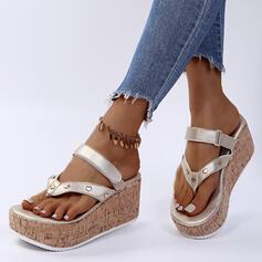 Women's PU Wedge Heel Sandals Flip-Flops Slippers With Velcro Solid Color shoes