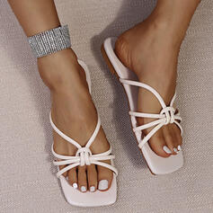 Women's PU Flat Heel Sandals Flats Peep Toe Slippers With Hollow-out Bandage shoes