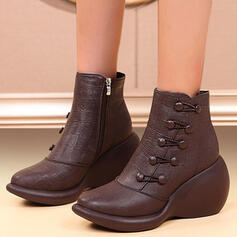 Women's PU Wedge Heel Boots With Zipper Button Solid Color shoes
