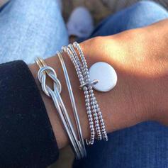 En couches Noeud Alliage Perles avec Pièce de monnaie Femmes Bracelets 3 PIÈCES
