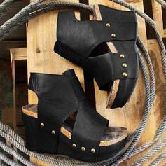 De mujer Piel brillante Tipo de tacón Sandalias Plataforma Cuñas Encaje Solo correa con Agujereado Color sólido zapatos