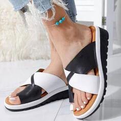 Femmes PU Talon compensé Sandales Compensée À bout ouvert Chaussons avec Ouvertes Bloc de couleur Entrecroisement chaussures