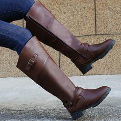 De mujer PU Tacón ancho Botas Botas longitud media Tacones Encaje con Hebilla Cremallera Color sólido zapatos