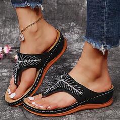 Femmes PU Talon compensé Sandales Compensée Tongs Chaussons avec Strass Couleur unie chaussures