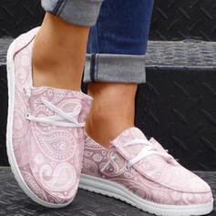 Femmes Toile Talon plat Chaussures plates bout rond Espadrille avec Dentelle Couleur unie chaussures