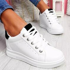 Femmes Similicuir Autres Chaussures plates Plateforme Low Top Tennis avec Dentelle Couleur d'épissure chaussures