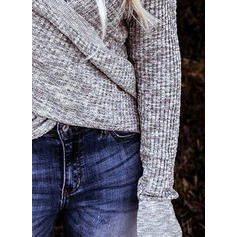 Solid Knit V-Neck Long Sleeves Casual Blouses