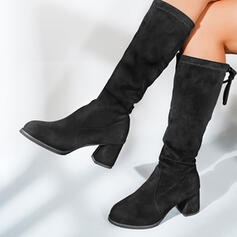 Women's Suede Chunky Heel Mid-Calf Boots With Solid Color shoes
