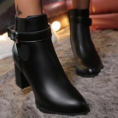 De mujer PU Tacón ancho Botas Botas al tobillo Tacones Dedo del pie puntiagudo con Hebilla Color sólido zapatos