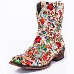 Mulheres PU Salto robusto Botas na panturrilha Botas de montaria Dedo pontudo com Flor Bordados sapatos