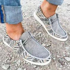 Mulheres Pano Sem salto Sem salto Low Top Toe rodada Mocassins Escorregar em com Aplicação de renda Impressão sapatos