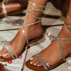 Mulheres PU Sem salto Sandálias Sem salto Peep toe com Strass Oca-out sapatos