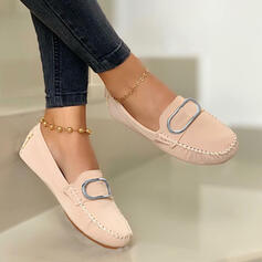 Women's PU Flat Heel Flats Loafers Slip On With Buckle Solid Color shoes