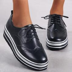 Femmes Similicuir Talon plat Chaussures plates Plateforme bout rond avec Dentelle Stripe chaussures