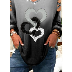 Print Sequins Gradient Heart Cold Shoulder Long Sleeves Casual Blouses
