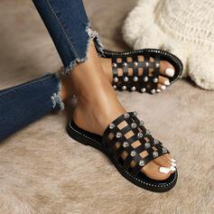 Femmes PU Talon plat Sandales Chaussures plates À bout ouvert Chaussons avec Strass Ouvertes chaussures