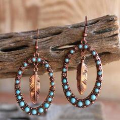Oval Alloy With Leaf Women's Earrings