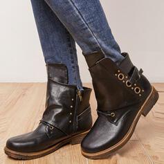 De mujer PU Tacón ancho Botas Botas al tobillo Botas longitud media Encaje con Cordones Color sólido zapatos