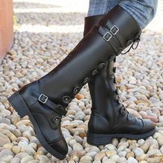 Mulheres PU Salto robusto Botas na panturrilha Toe rodada com Fivela Aplicação de renda Cor sólida sapatos