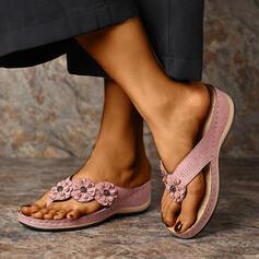 Femmes PU Talon compensé Sandales Tongs Chaussons avec Une fleur chaussures