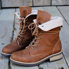 Women's Leatherette Chunky Heel Martin Boots With Lace-up Solid Color shoes