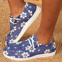 Femmes Toile Talon plat Chaussures plates Low Top bout rond Flâneurs avec Dentelle Une fleur Inmprimé chaussures