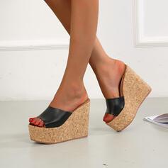 Femmes Microfibre Talon compensé Sandales Compensée À bout ouvert Chaussons Talons avec Couleur unie chaussures