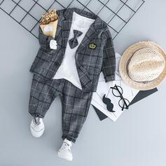 3-pieces Baby Boy Bow Plaid Cotton Set