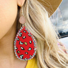 Shining Heart Valentine's Day Natural Stone Alloy Rhinestones Leather Women's Earrings 2 PCS